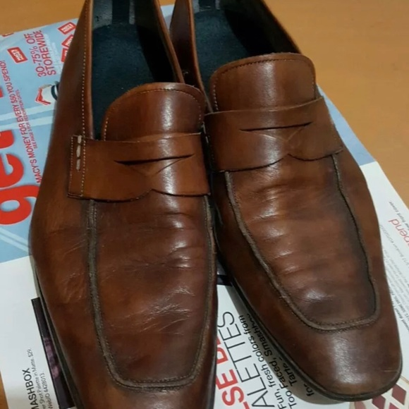 MAGNANNI Men's Brown Leather Penny Loafers Size 9
